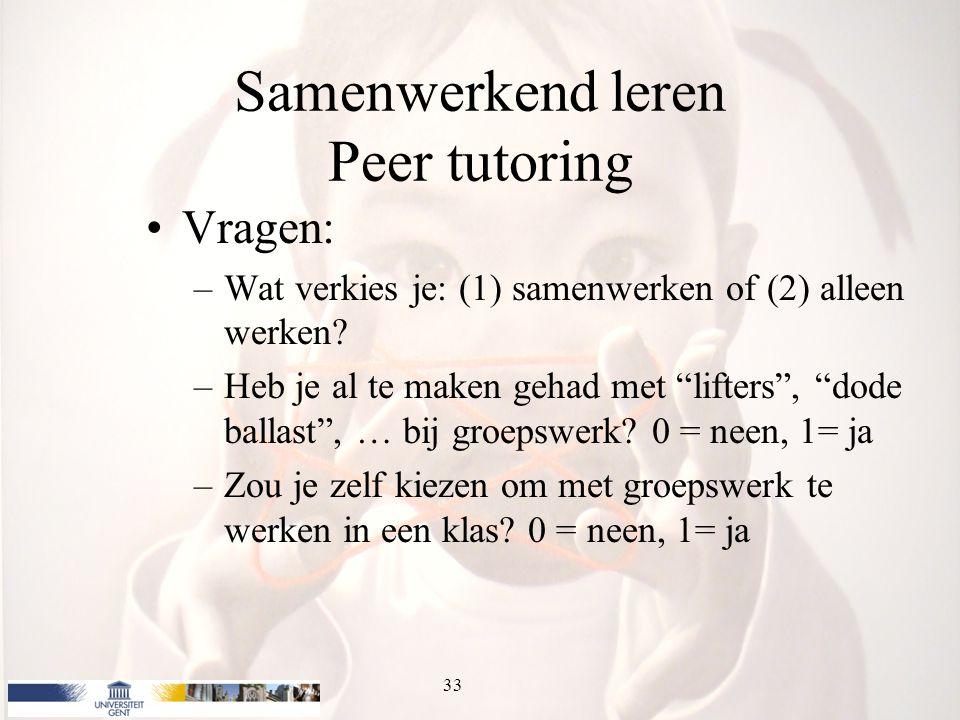 Samenwerkend leren Peer tutoring