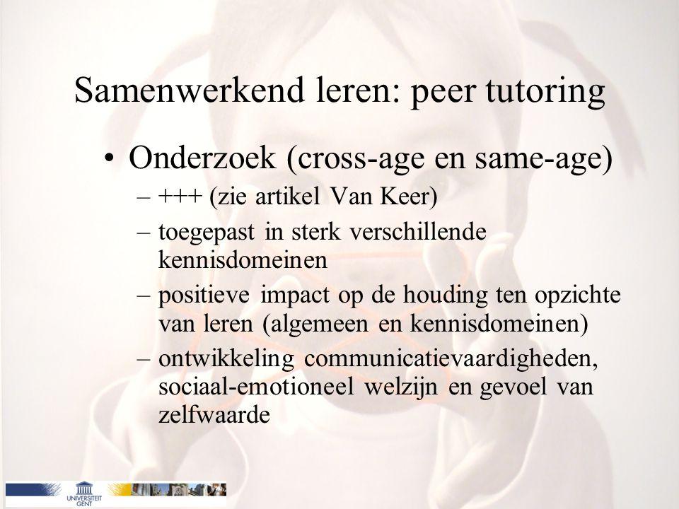 Samenwerkend leren: peer tutoring