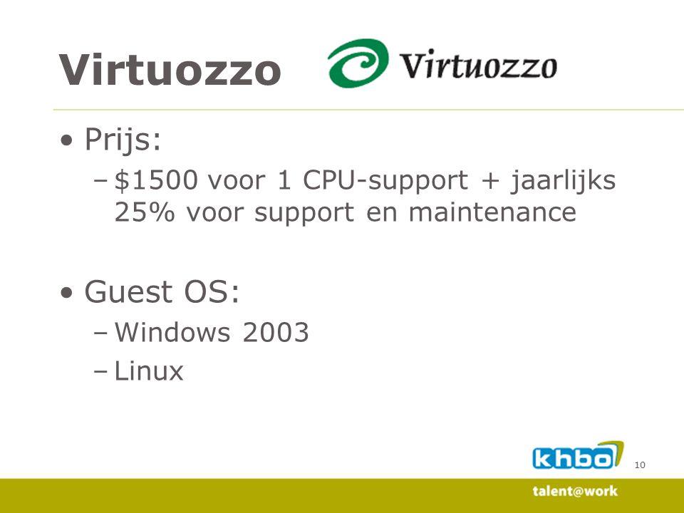 Virtuozzo Prijs: Guest OS: