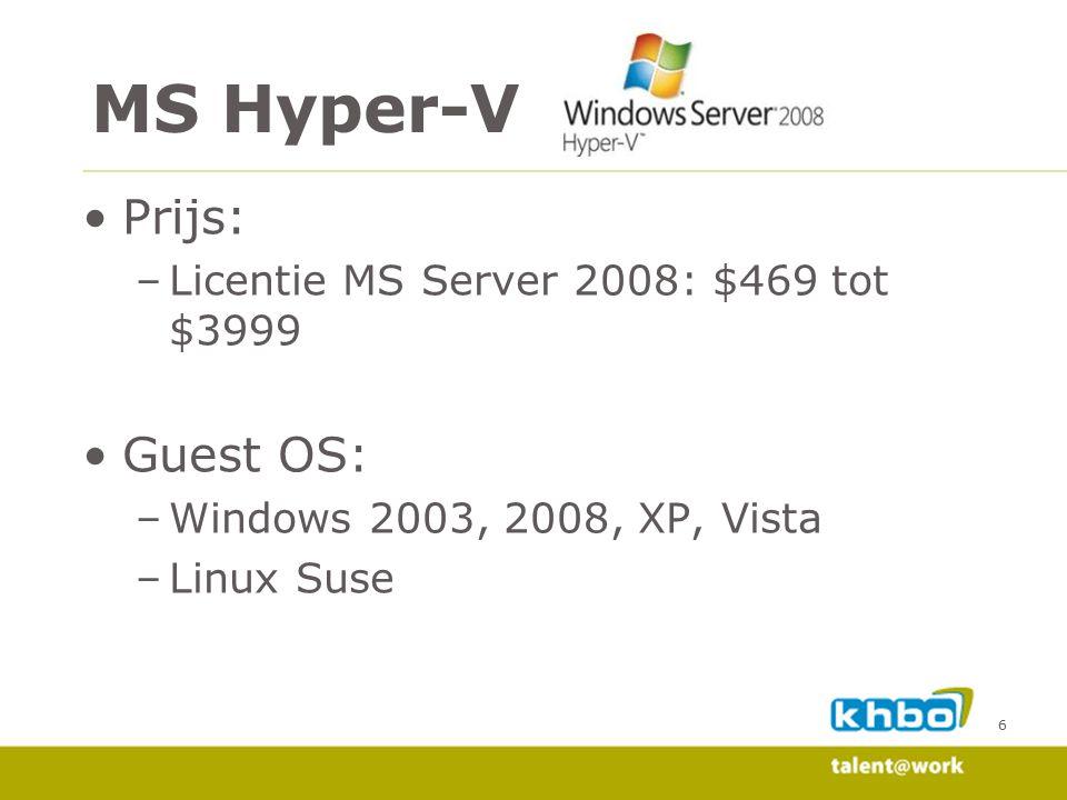 MS Hyper-V Prijs: Guest OS: Licentie MS Server 2008: $469 tot $3999