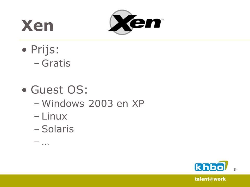 Xen Prijs: Gratis Guest OS: Windows 2003 en XP Linux Solaris … 8 8