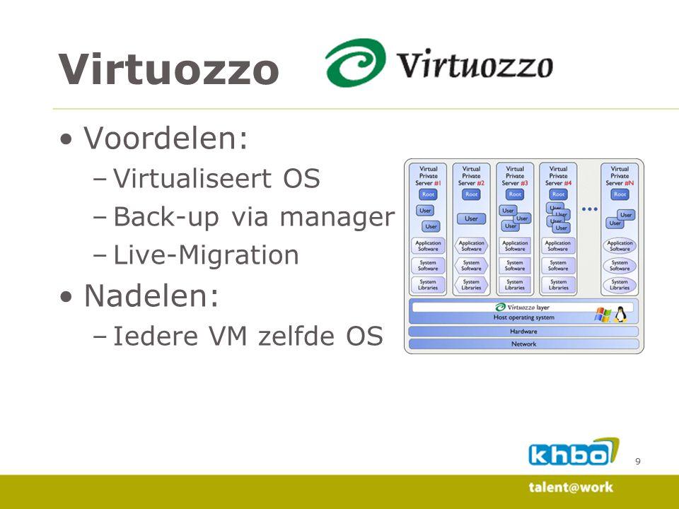 Virtuozzo Voordelen: Nadelen: Virtualiseert OS Back-up via manager