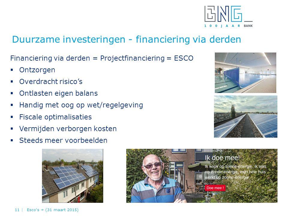 Duurzame investeringen - financiering via derden