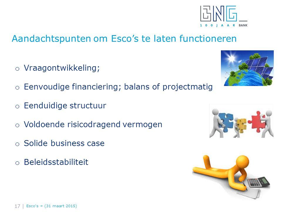 Aandachtspunten om Esco's te laten functioneren