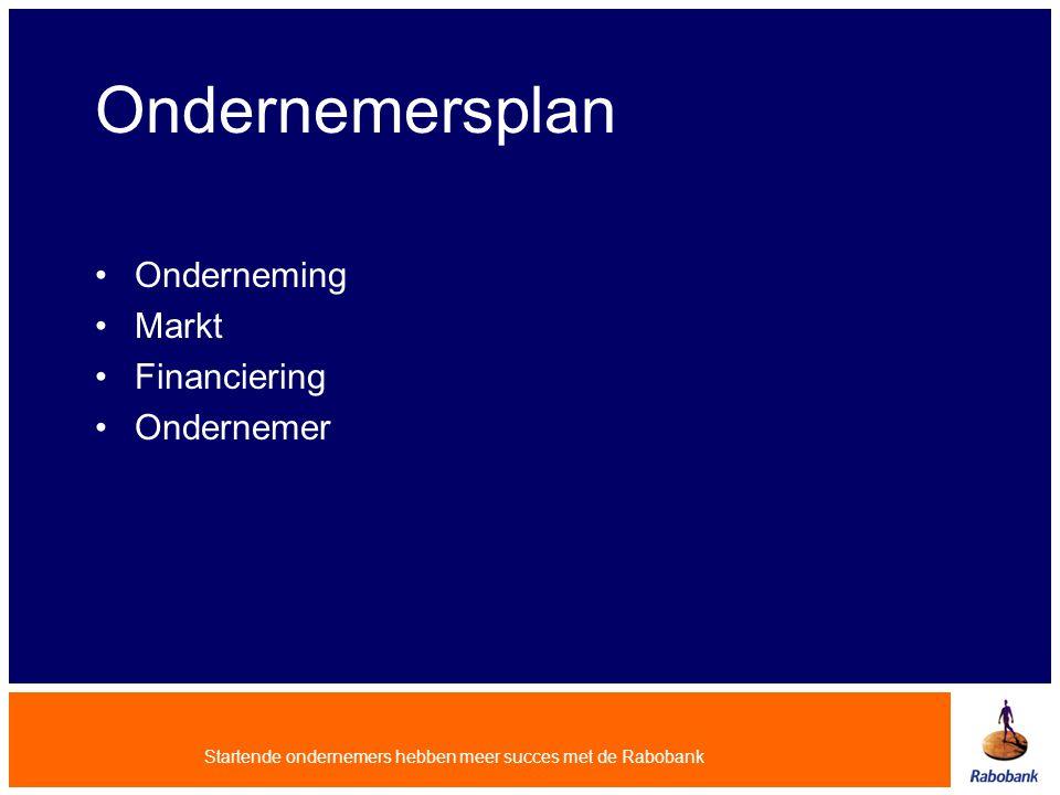 Ondernemersplan Onderneming Markt Financiering Ondernemer