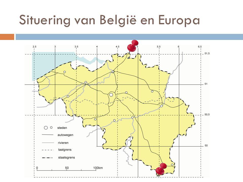 Situering van België en Europa