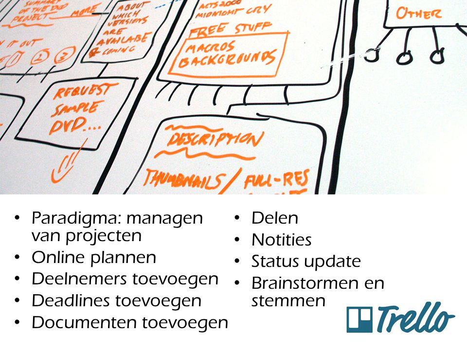 Doel: Trello Paradigma: managen van projecten Delen Notities