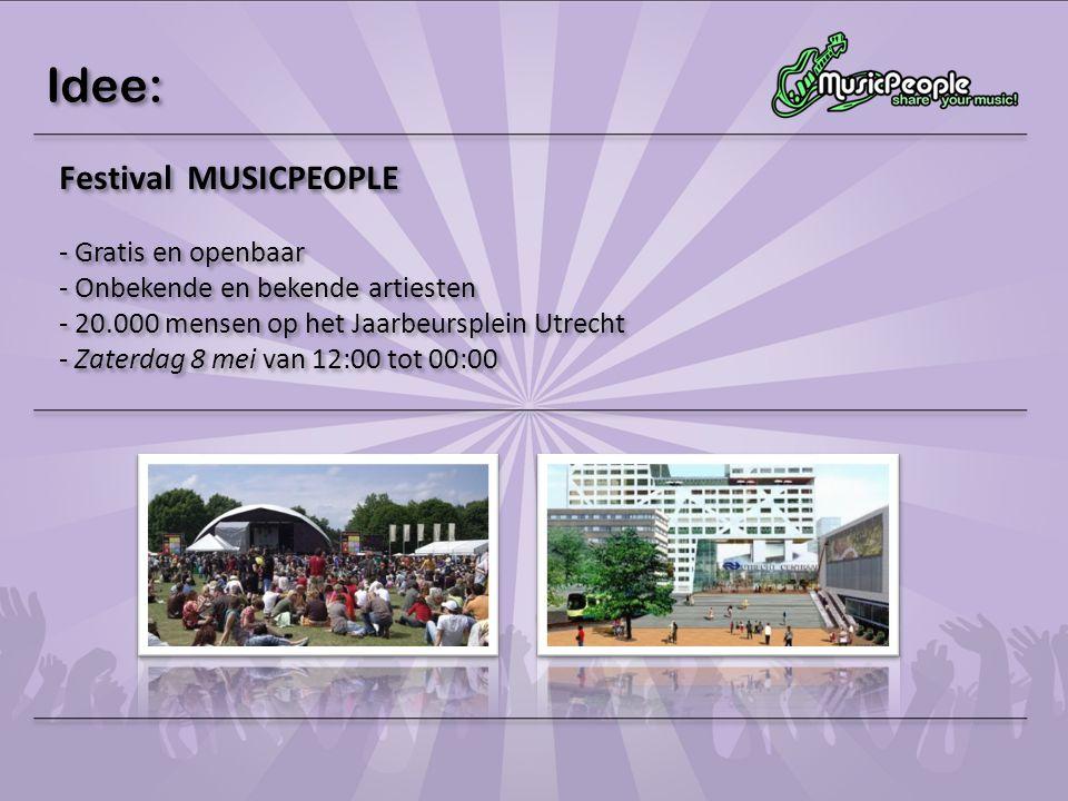 Idee: Festival MUSICPEOPLE Gratis en openbaar