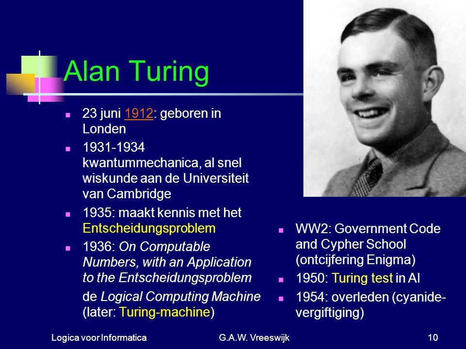 Alan Turing 23 juni 1912: geboren in Londen