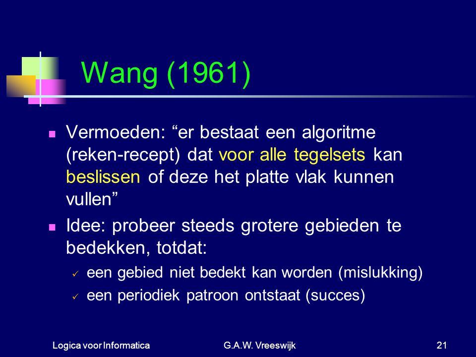 Wang (1961) Vermoeden: er bestaat een algoritme (reken-recept) dat voor alle tegelsets kan beslissen of deze het platte vlak kunnen vullen