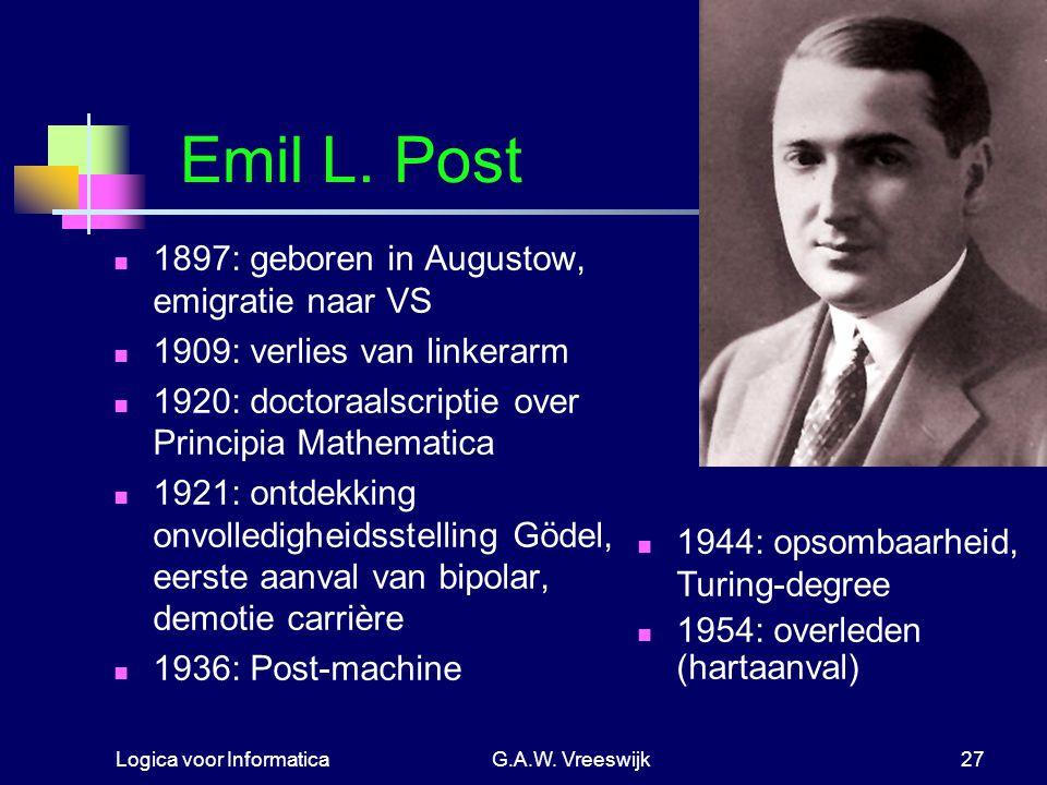 Emil L. Post 1897: geboren in Augustow, emigratie naar VS