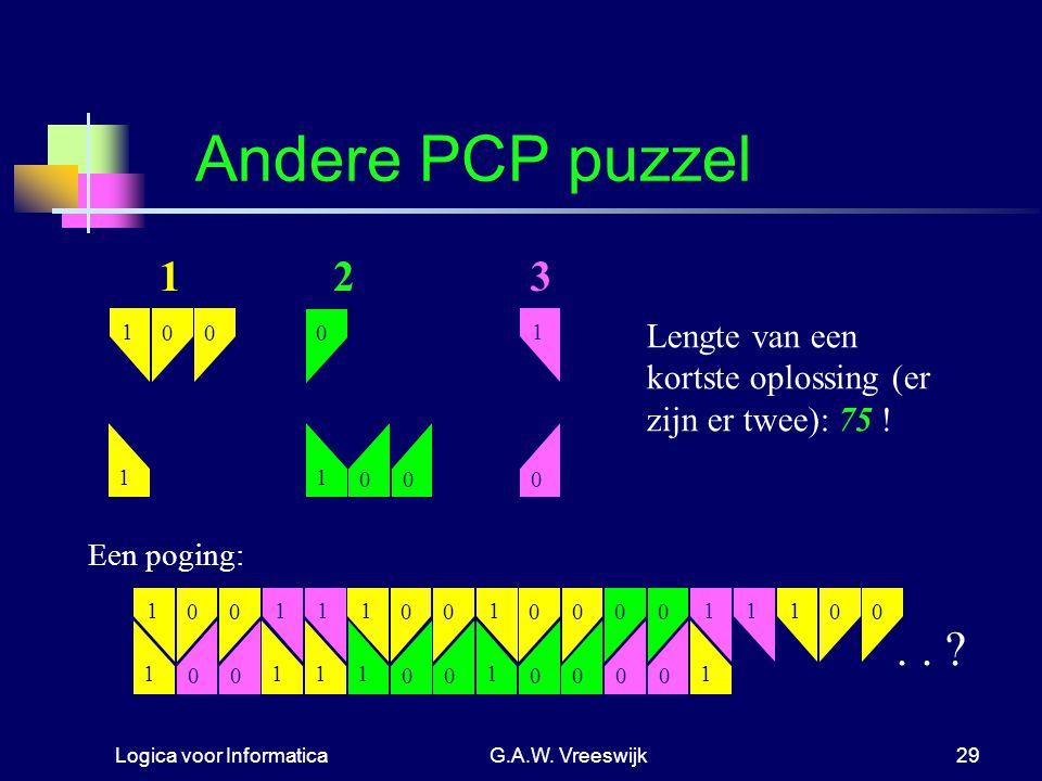 Andere PCP puzzel 1. 2. 3. 1. 1. Lengte van een kortste oplossing (er zijn er twee): 75 ! 1. 1.