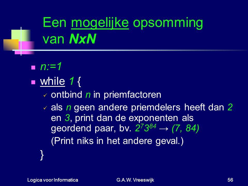 Een mogelijke opsomming van NxN