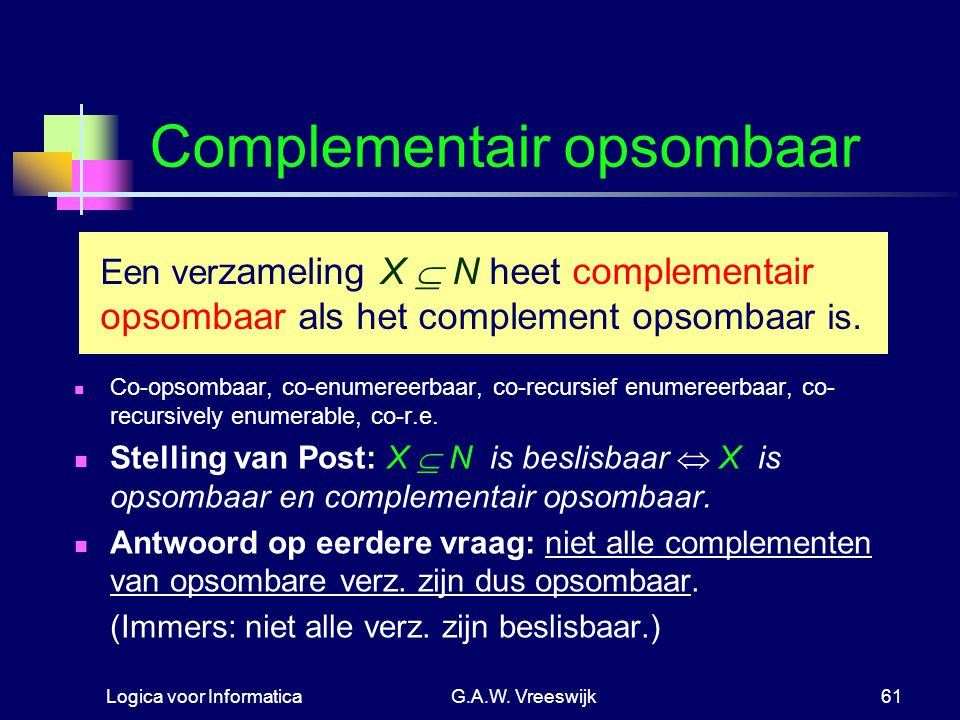 Complementair opsombaar
