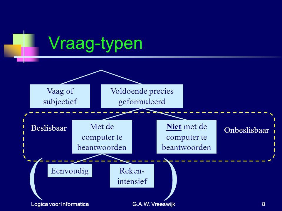 ( ) Vraag-typen Vaag of subjectief Voldoende precies geformuleerd