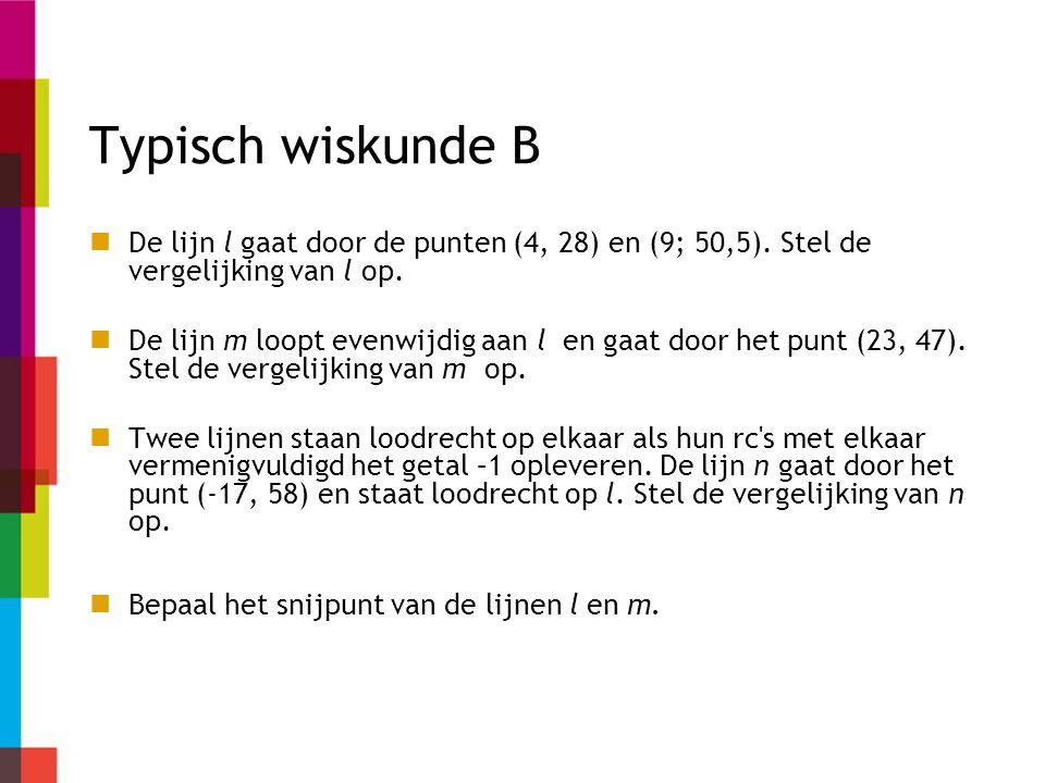 Typisch wiskunde B De lijn l gaat door de punten (4, 28) en (9; 50,5). Stel de vergelijking van l op.