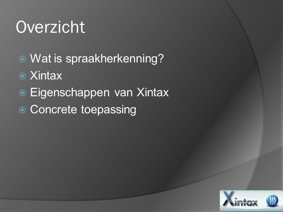 Overzicht Wat is spraakherkenning Xintax Eigenschappen van Xintax