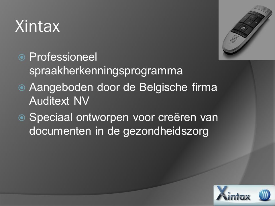 Xintax Professioneel spraakherkenningsprogramma