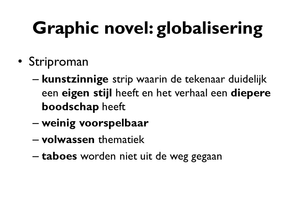 Graphic novel: globalisering