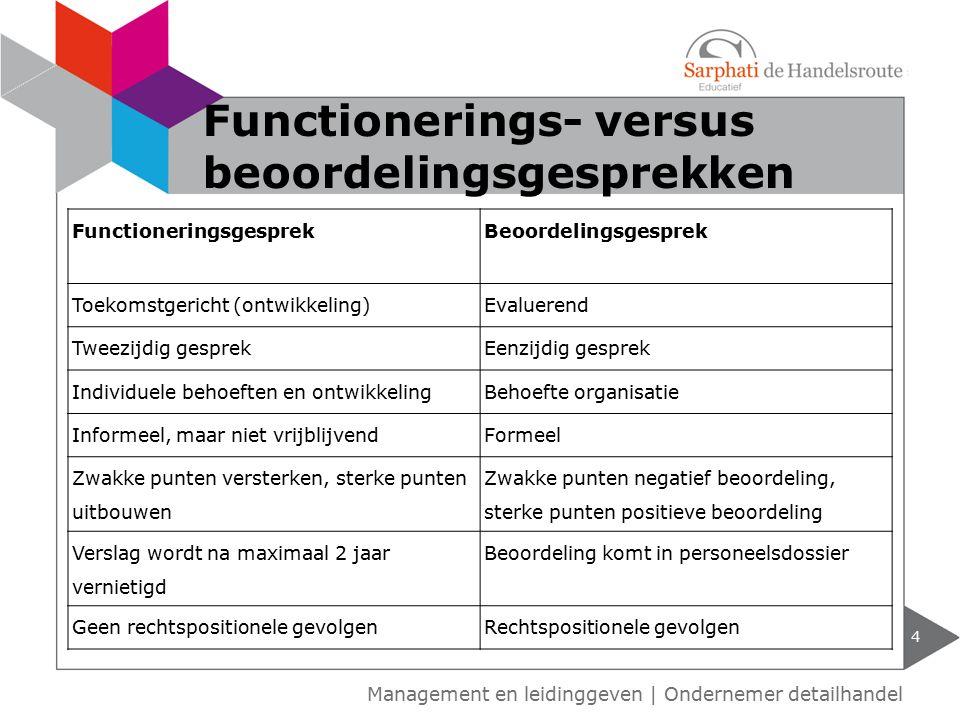 Functionerings- versus beoordelingsgesprekken