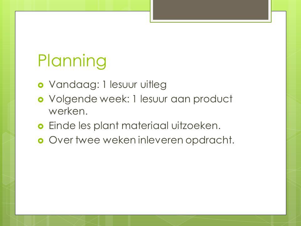 Planning Vandaag: 1 lesuur uitleg