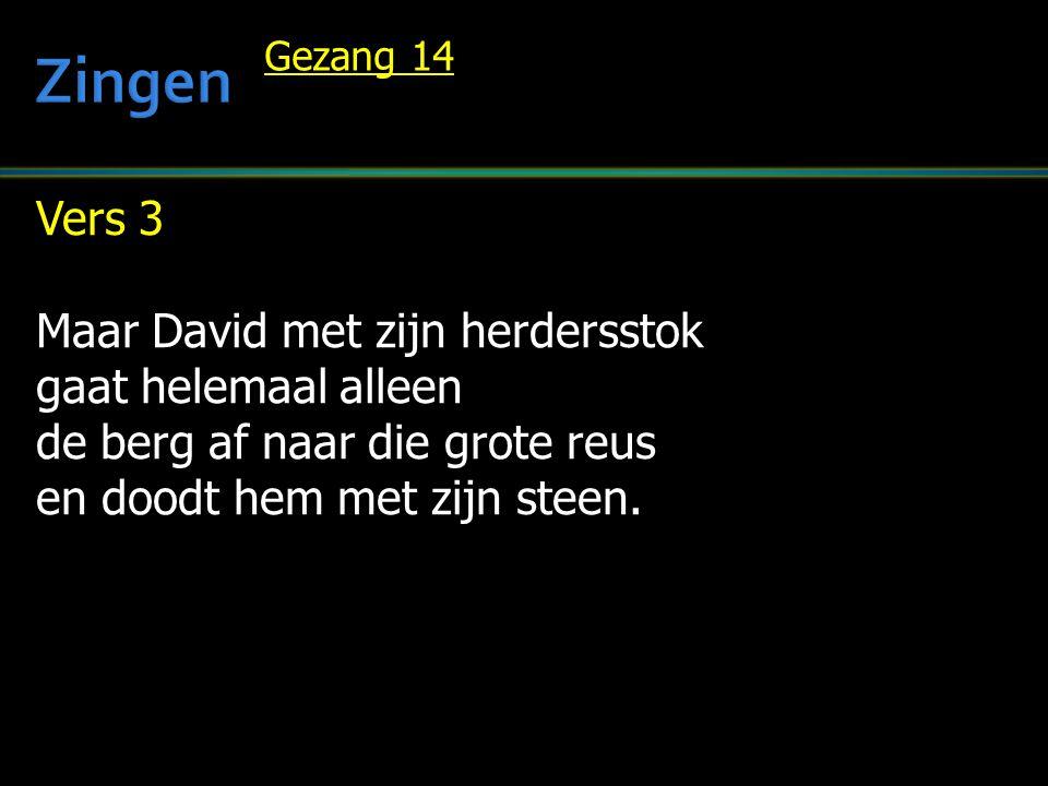 Zingen Vers 3 Maar David met zijn herdersstok gaat helemaal alleen