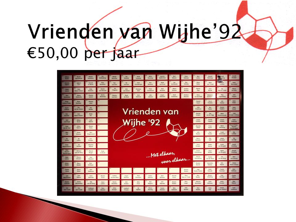 Vrienden van Wijhe'92 €50,00 per jaar