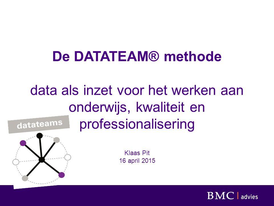 De DATATEAM® methode data als inzet voor het werken aan onderwijs, kwaliteit en professionalisering Klaas Pit 16 april 2015
