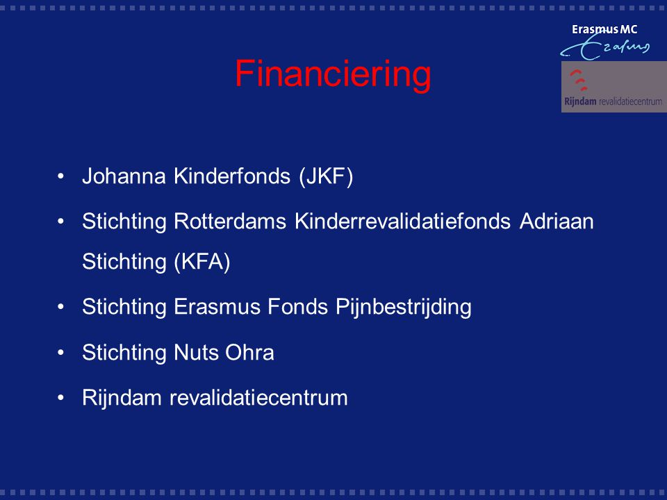 Financiering Johanna Kinderfonds (JKF)