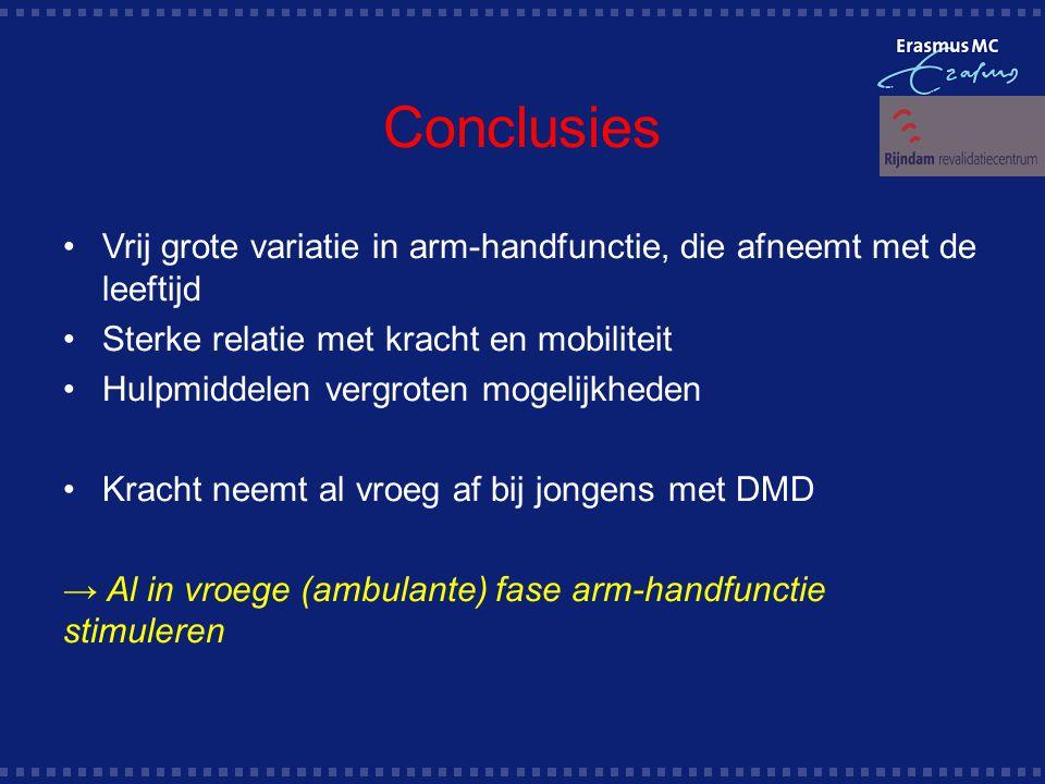 Conclusies Vrij grote variatie in arm-handfunctie, die afneemt met de leeftijd. Sterke relatie met kracht en mobiliteit.