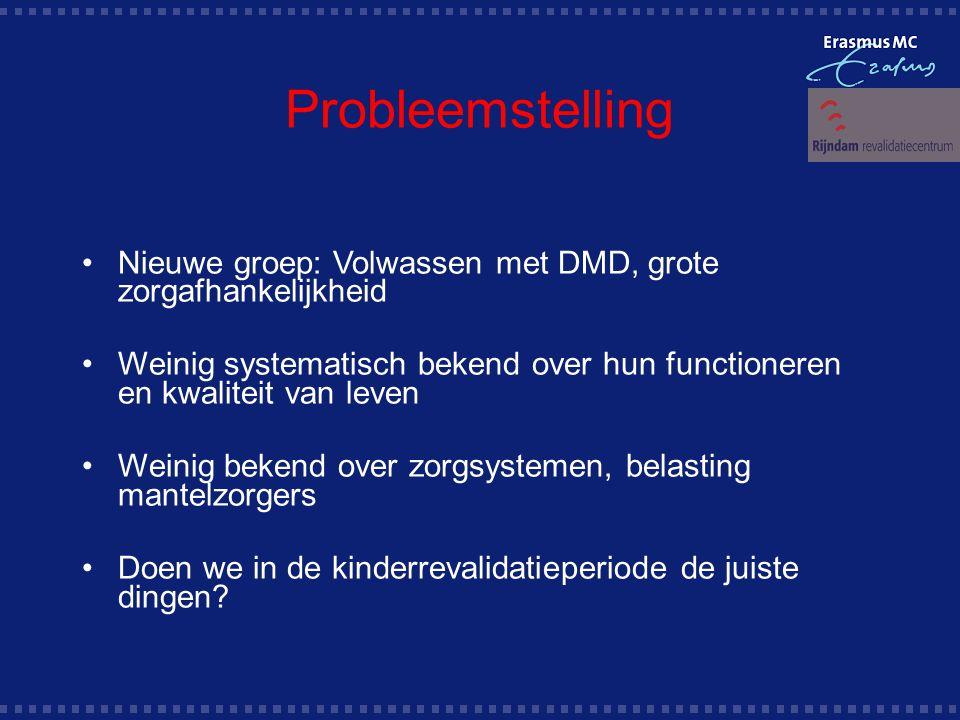 Probleemstelling Nieuwe groep: Volwassen met DMD, grote zorgafhankelijkheid. Weinig systematisch bekend over hun functioneren en kwaliteit van leven.