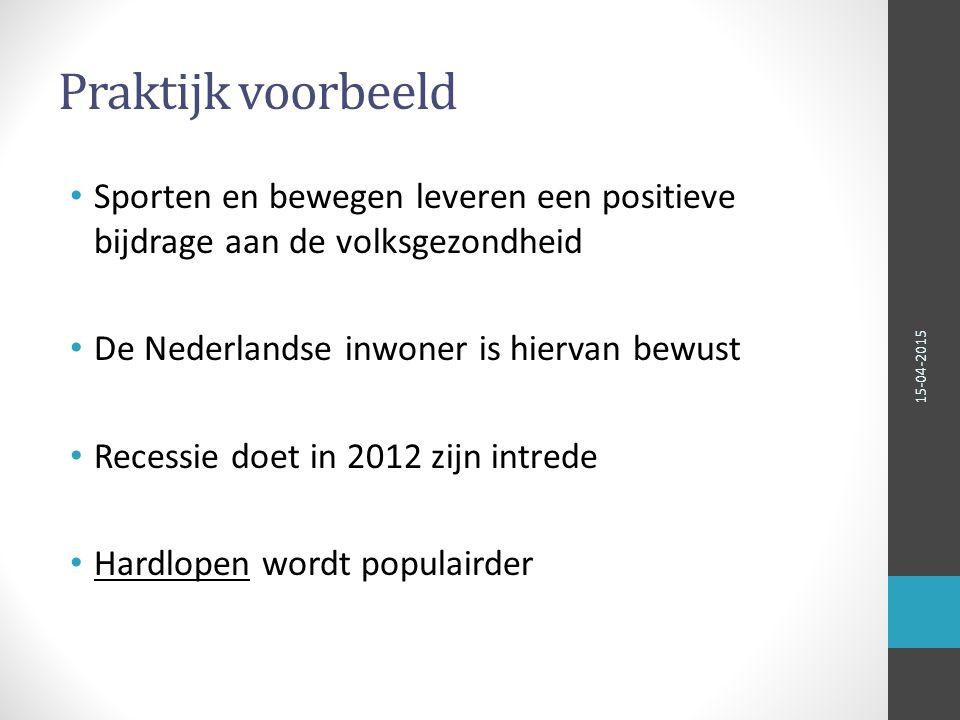 Praktijk voorbeeld Sporten en bewegen leveren een positieve bijdrage aan de volksgezondheid. De Nederlandse inwoner is hiervan bewust.