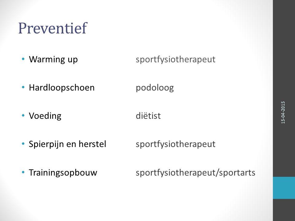 Preventief Warming up sportfysiotherapeut Hardloopschoen podoloog