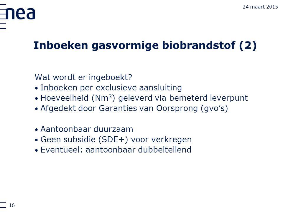 Inboeken gasvormige biobrandstof (2)