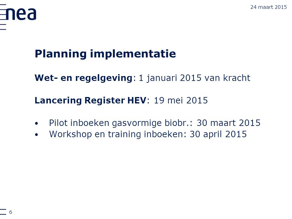 Planning implementatie