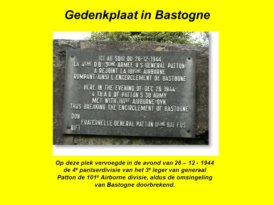 Gedenkplaat in Bastogne