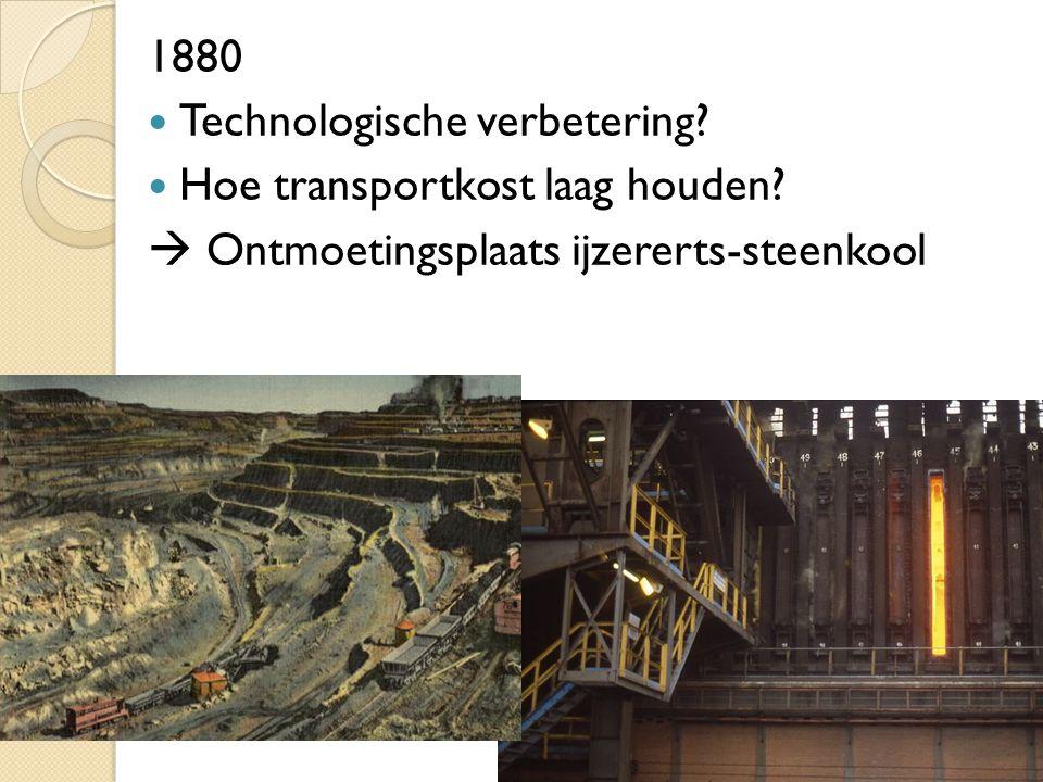 1880 Technologische verbetering. Hoe transportkost laag houden.
