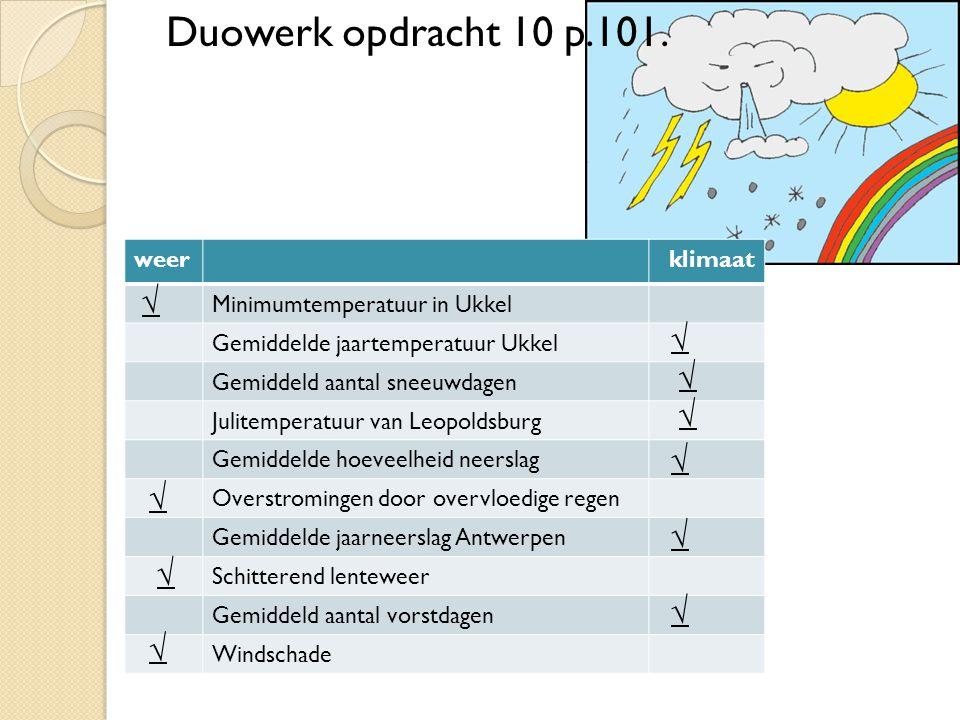 Duowerk opdracht 10 p.101. √ √ √ √ √ √ √ √ √ √ weer klimaat