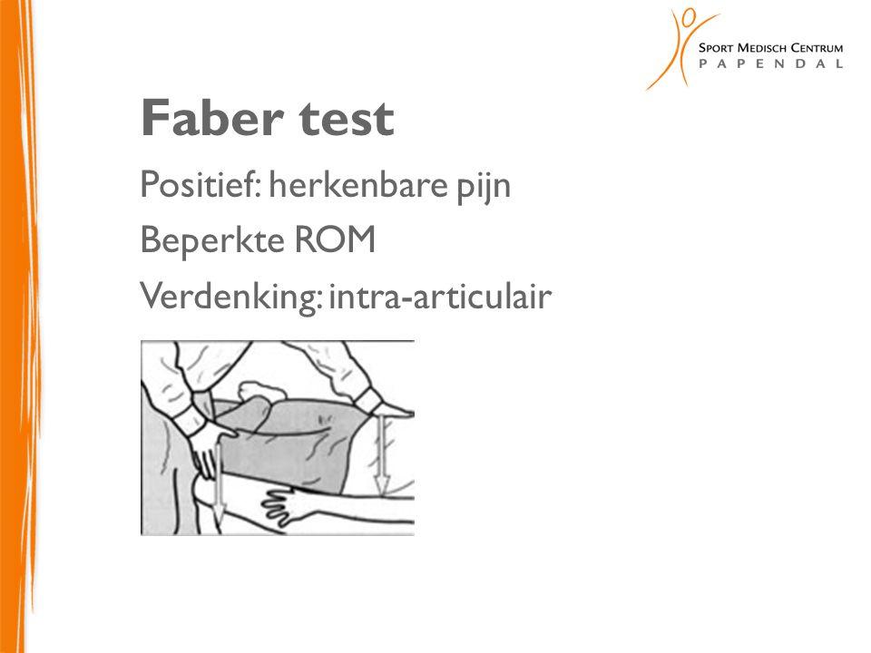 Faber test Positief: herkenbare pijn Beperkte ROM