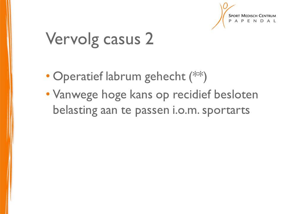 Vervolg casus 2 Operatief labrum gehecht (**)