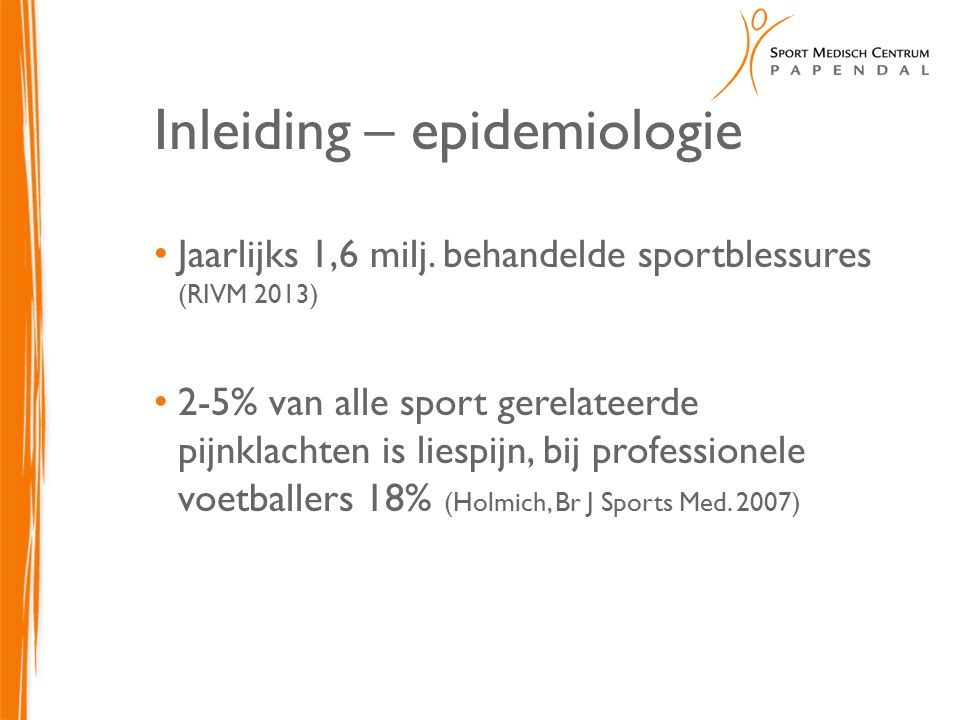 Inleiding – epidemiologie