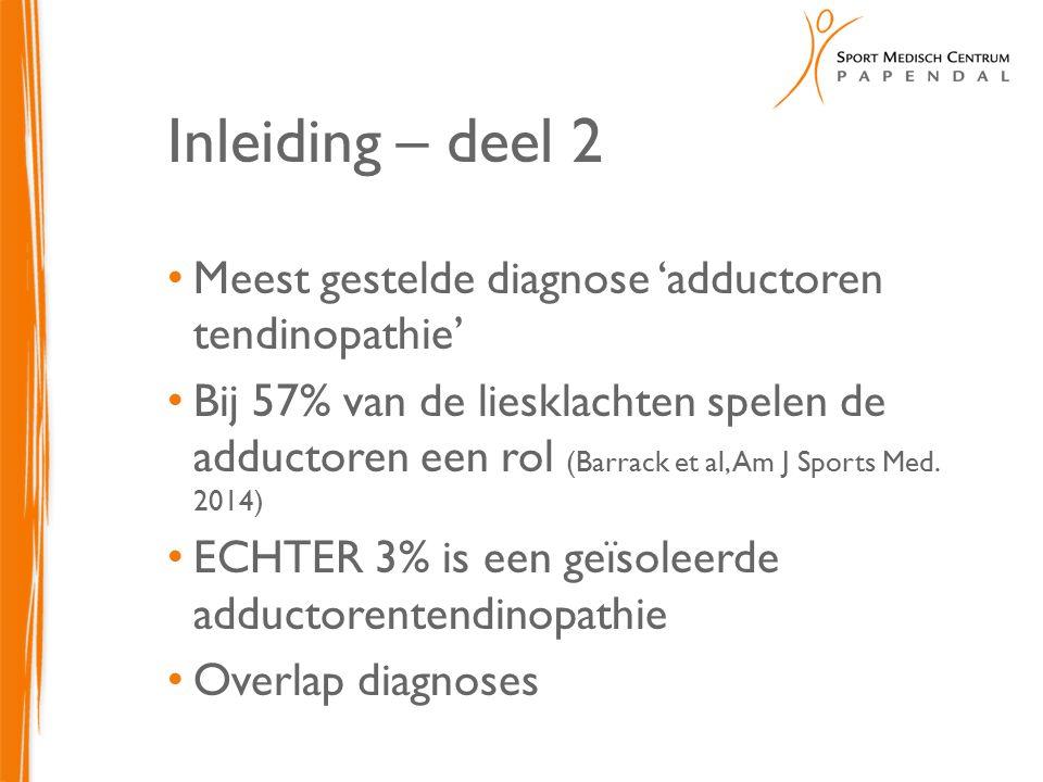 Inleiding – deel 2 Meest gestelde diagnose 'adductoren tendinopathie'