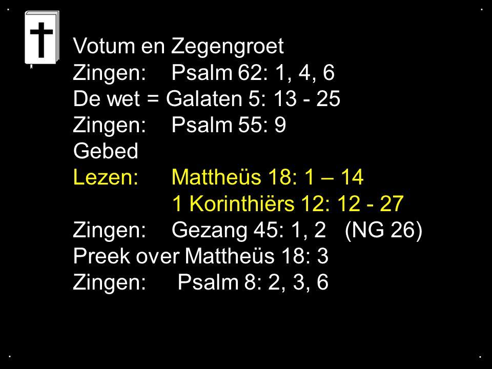 Votum en Zegengroet Zingen: Psalm 62: 1, 4, 6