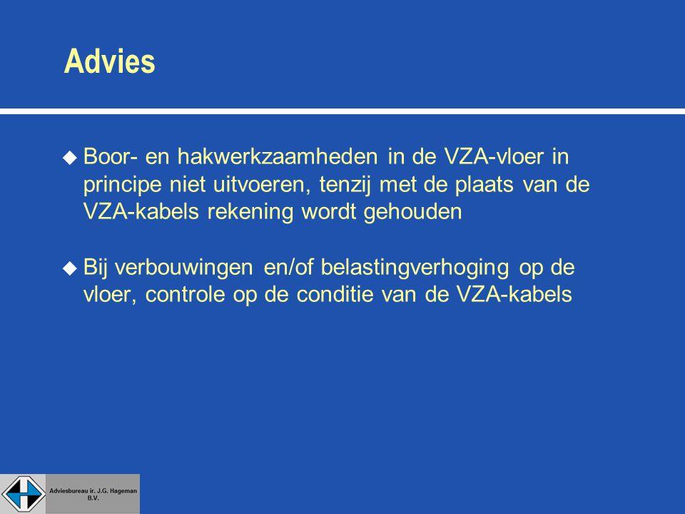 Advies Boor- en hakwerkzaamheden in de VZA-vloer in principe niet uitvoeren, tenzij met de plaats van de VZA-kabels rekening wordt gehouden.