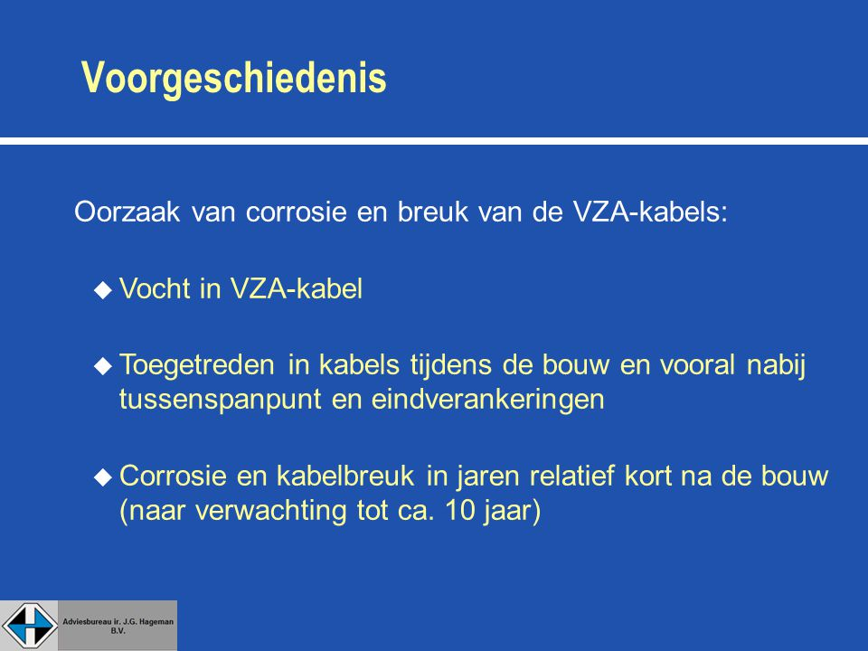 Voorgeschiedenis Oorzaak van corrosie en breuk van de VZA-kabels: