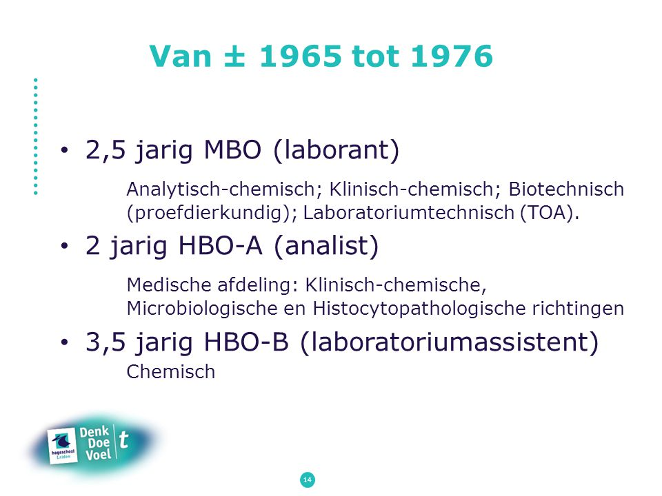 Van ± 1965 tot 1976 2,5 jarig MBO (laborant)