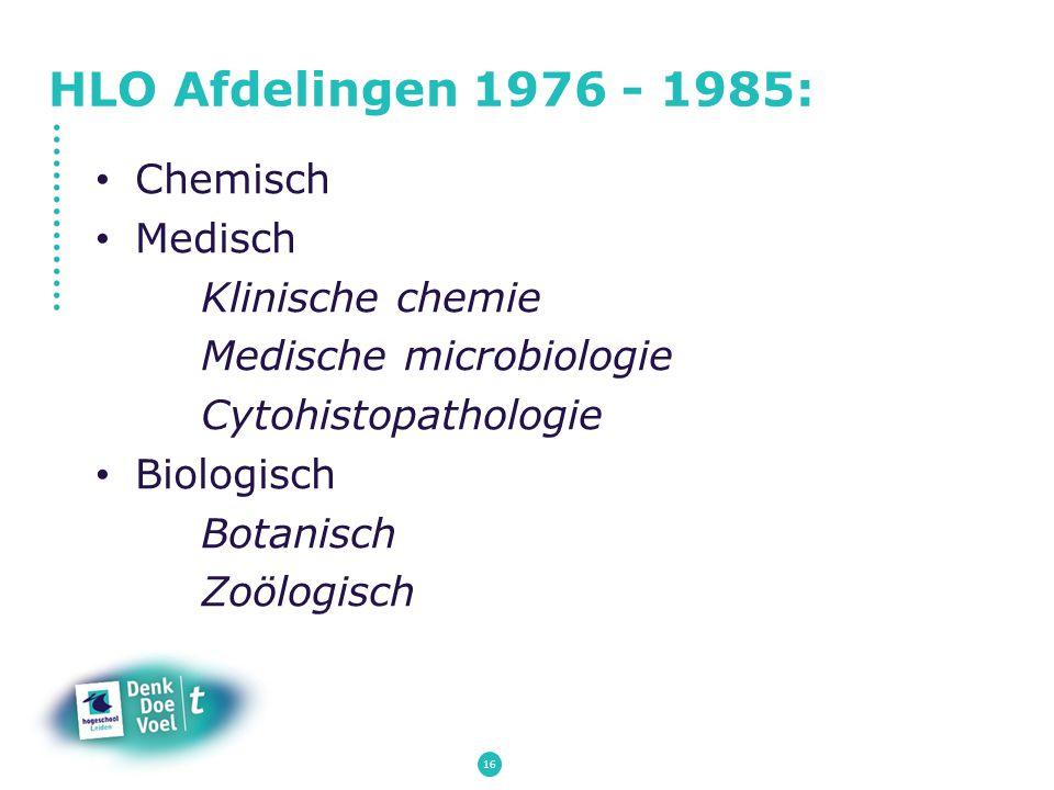 HLO Afdelingen 1976 - 1985: Chemisch Medisch Klinische chemie