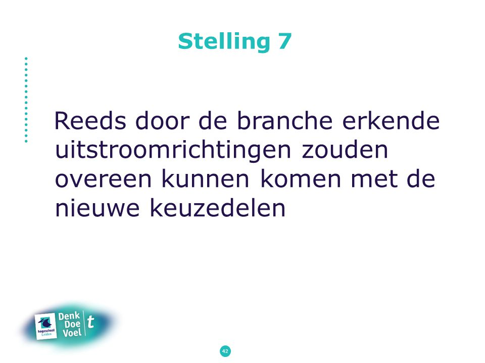 Stelling 7 Reeds door de branche erkende uitstroomrichtingen zouden overeen kunnen komen met de nieuwe keuzedelen.