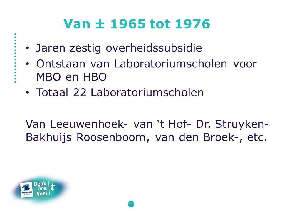 Van ± 1965 tot 1976 Jaren zestig overheidssubsidie