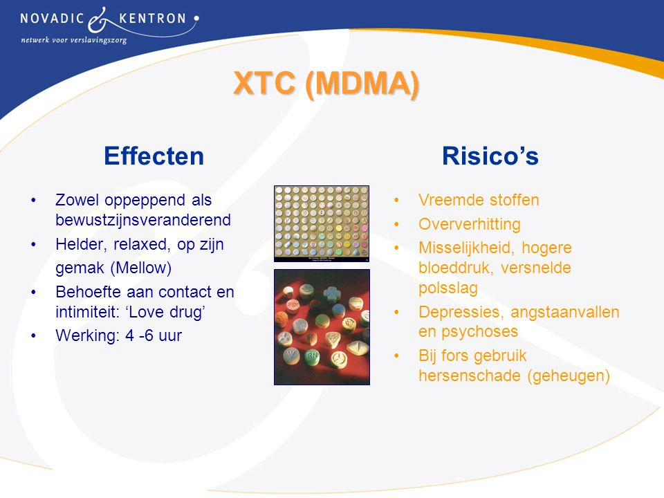 XTC (MDMA) Effecten Risico's
